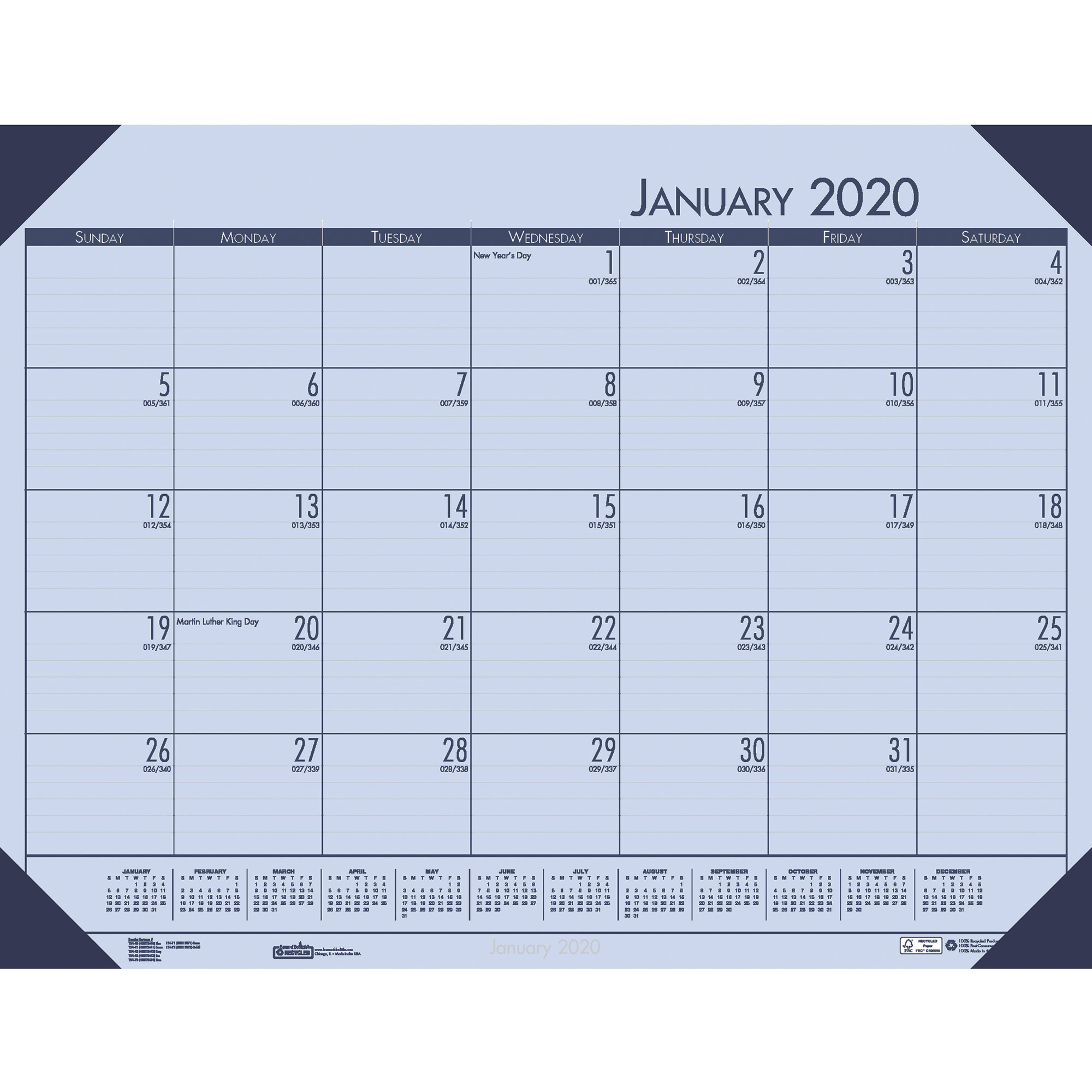 """House Of Doolittle Ecotones Compact Calendar Desk Pads - Yes - Monthly - 1  Year - January 2020 Till December 2020 - 1 Month Single Page Layout - 22"""" X"""