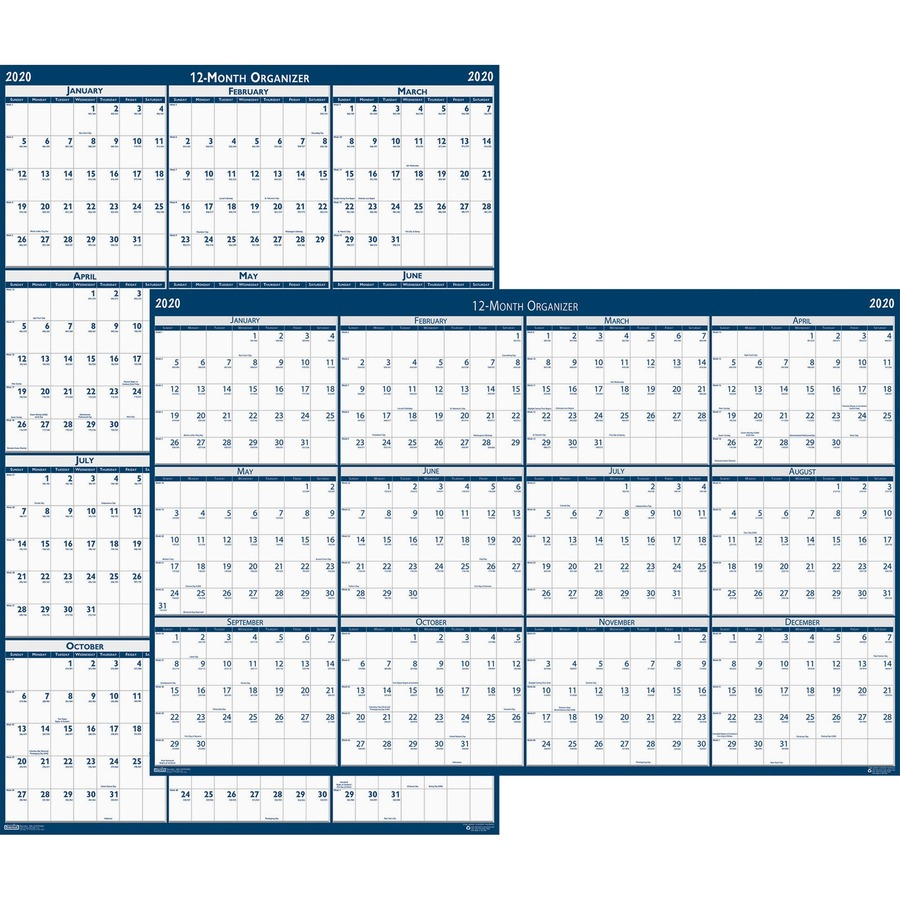 "House Of Doolittle Write-On Laminated Wall Planner - Yes - Monthly - 1 Year  - January 2020 Till December 2020 - 32"" X 48"" - Wall Mountable - Blue,"