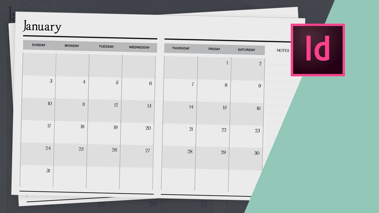 How To Design A Planner In Indesign - Calendar Design // Part Two