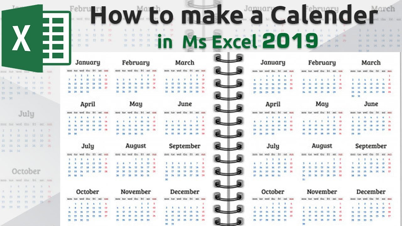 How To Make A Calendar In Microsoft Excel 2019