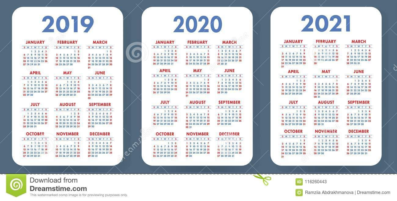 Illustration About Pocket Calendar 2019, 2020, 2021 Set