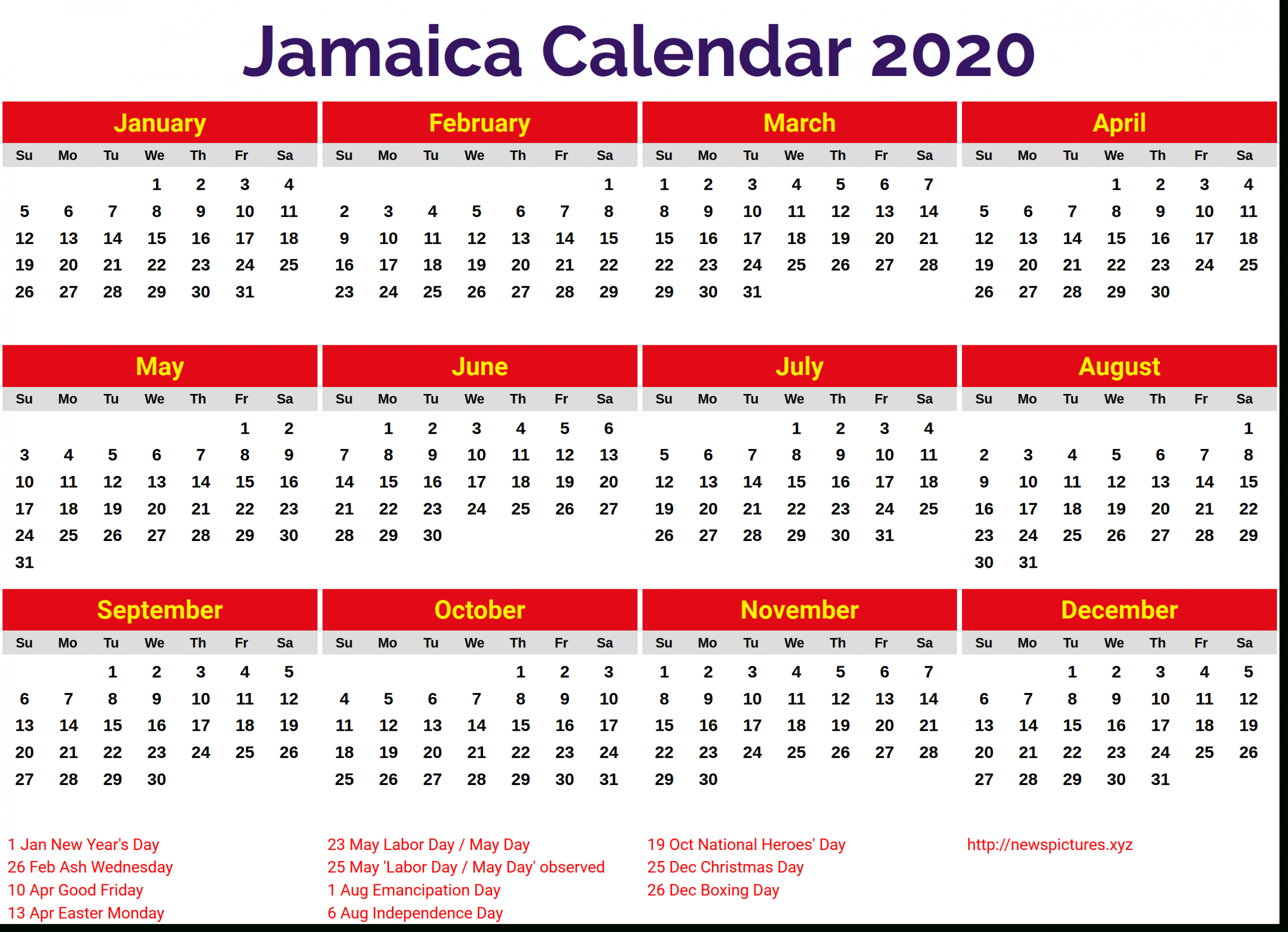 Image For Jamaica 2020 Calendar | 2019 Yearly Calendar