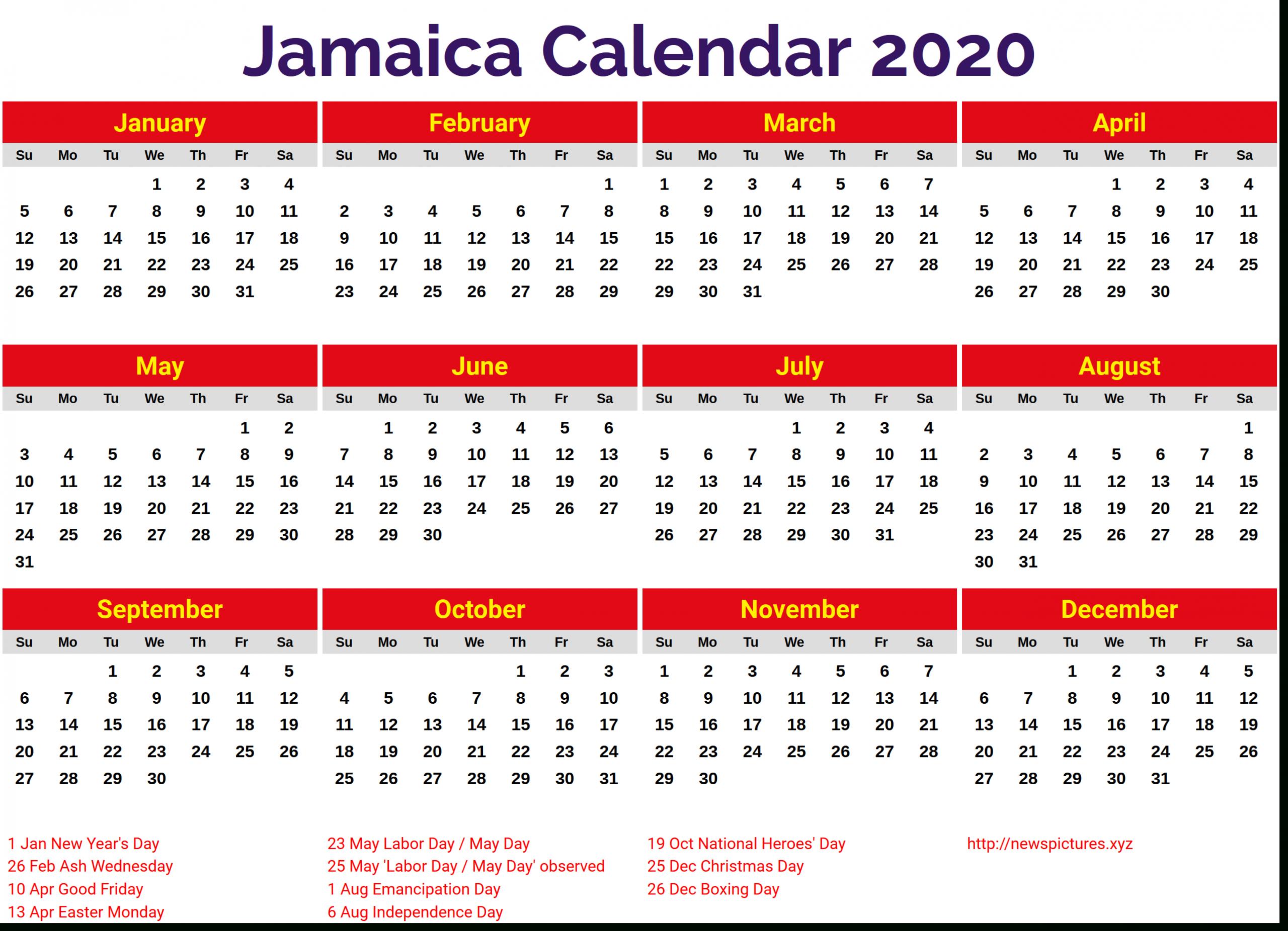 Image For Jamaica 2020 Calendar | 2019 Yearly Calendar