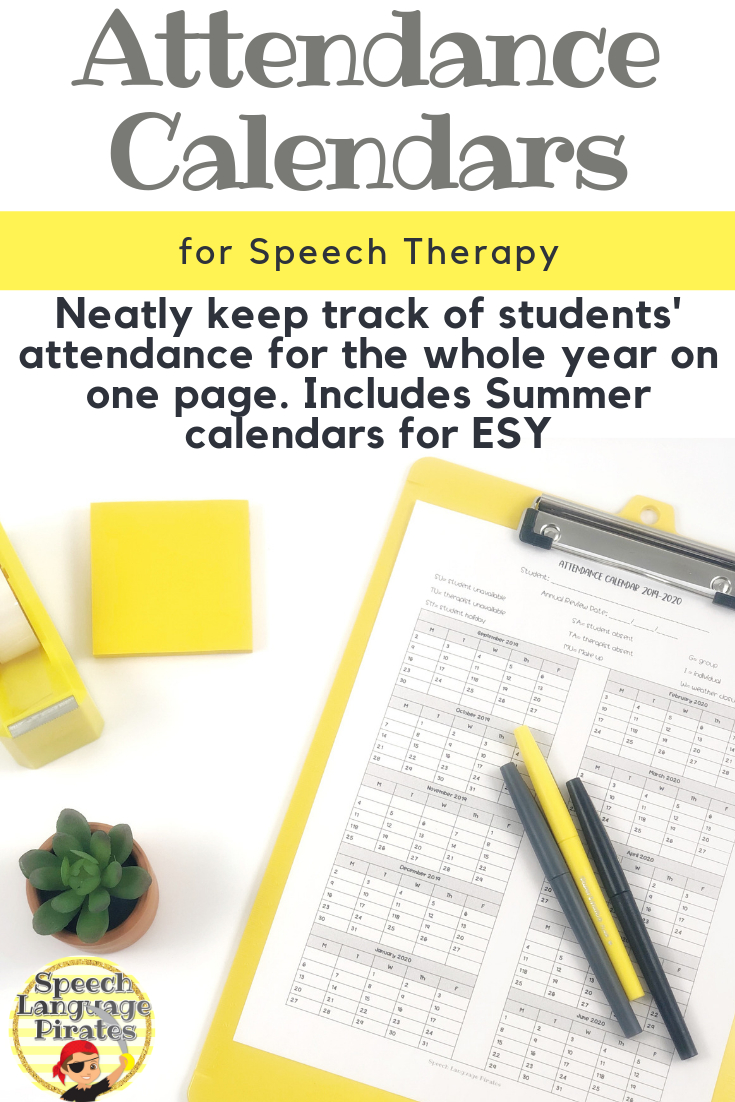 Individual Attendance Calendar For Speech Therapy: Aug 2019