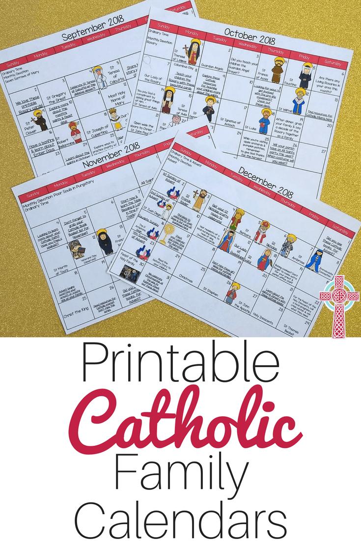 Interactive Catholic Monthly Calendar Bundle