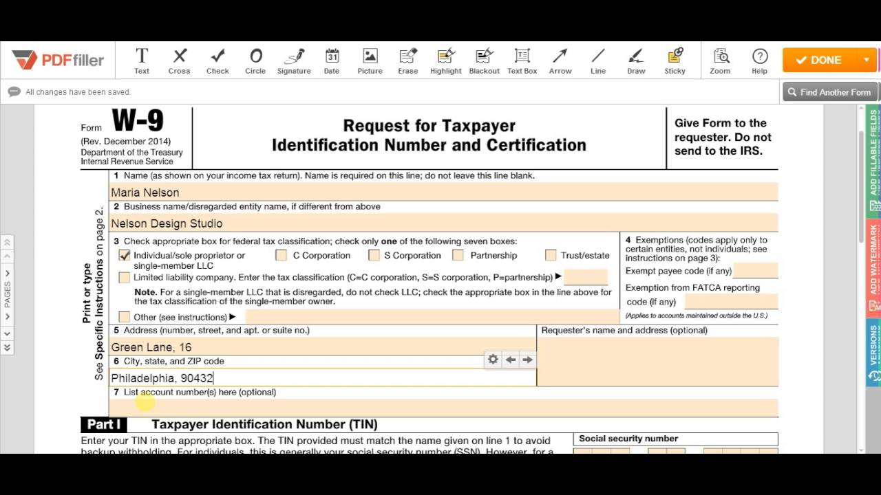 Irs W-9 Form 2017 – Fill Online, Printable, Fillable Blank | Pdffiller