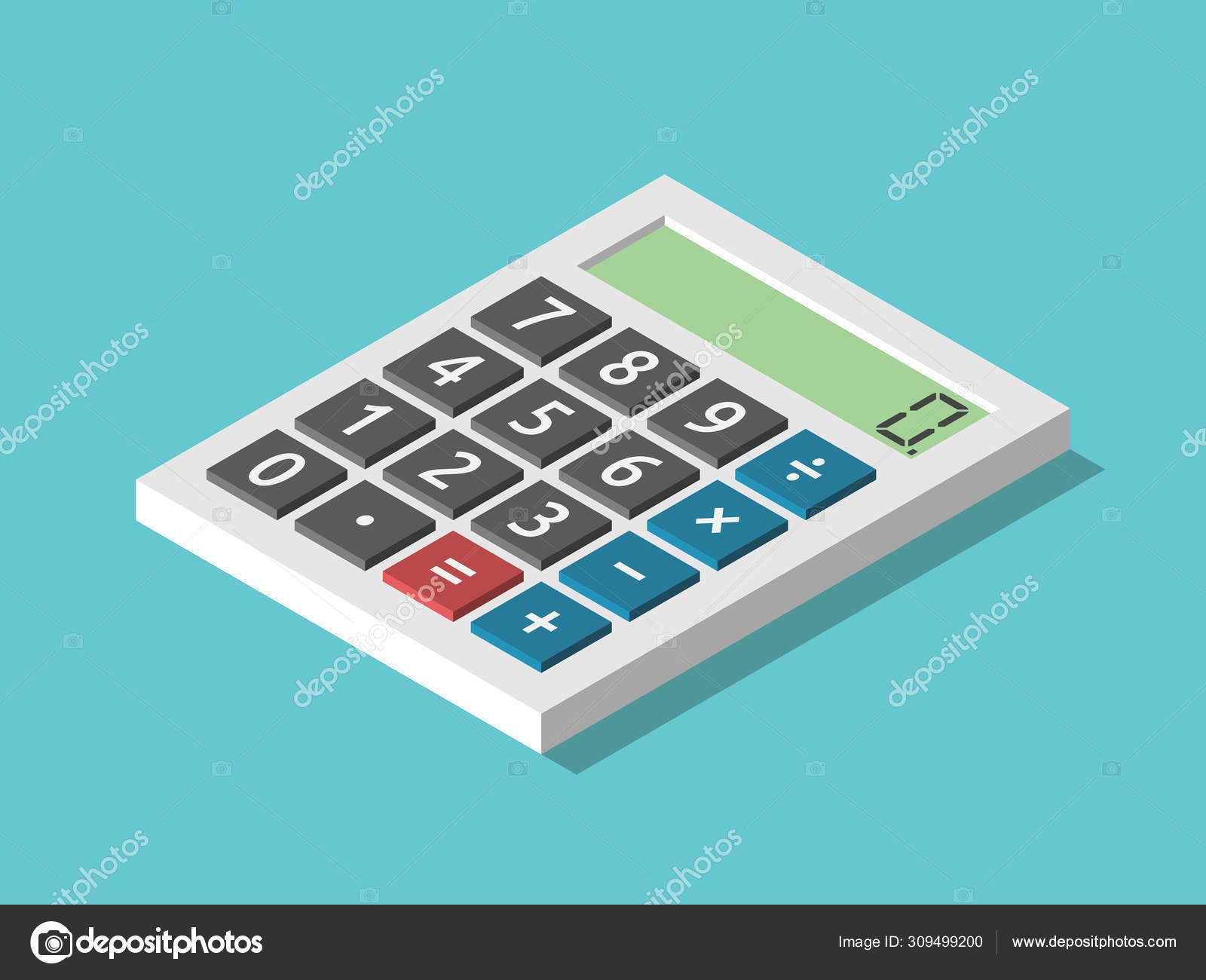 Isometric Calculator Displaying Zero — Stock Vector