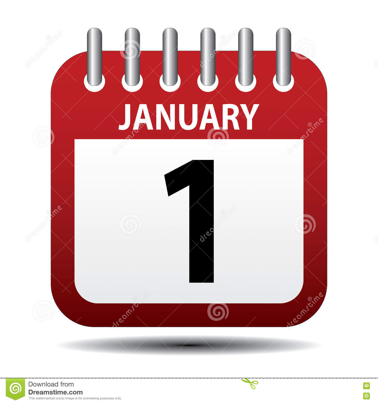 January 1 Calendar Page Stock Vector. Illustration Of
