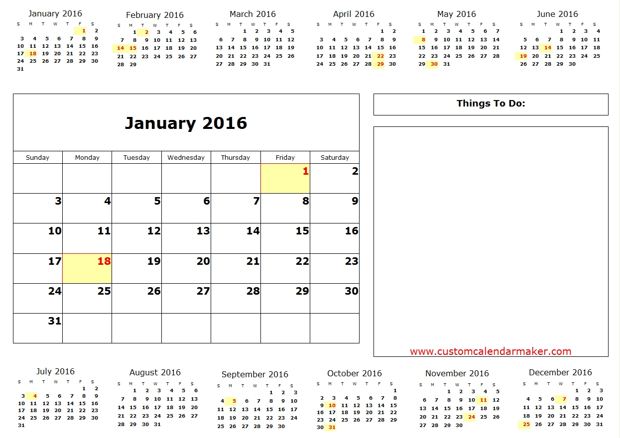 January 2016 Calendar Printable One Page