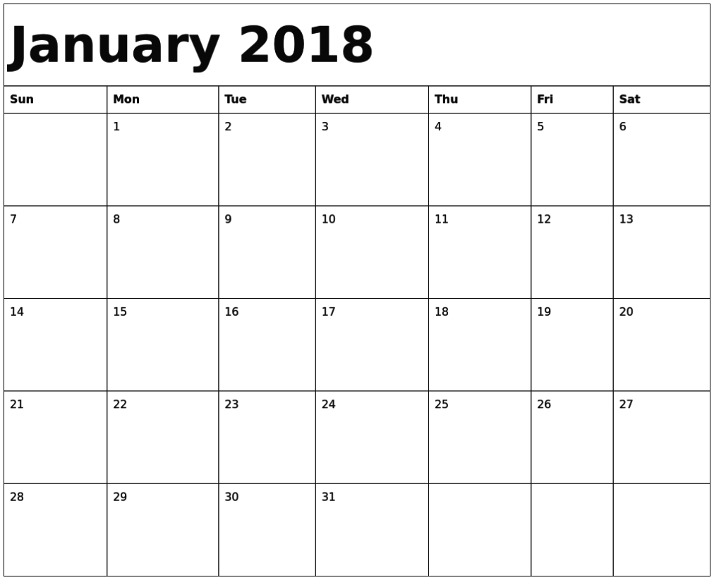 January 2018 Calendar Fillable | Monthly Calendar Template