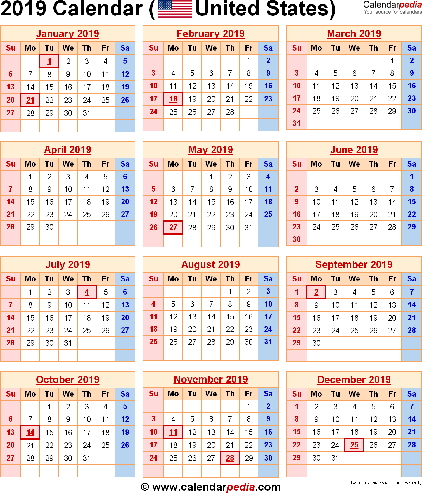 January 2019 Calendar Usa Holidays - Free Download | Yearly