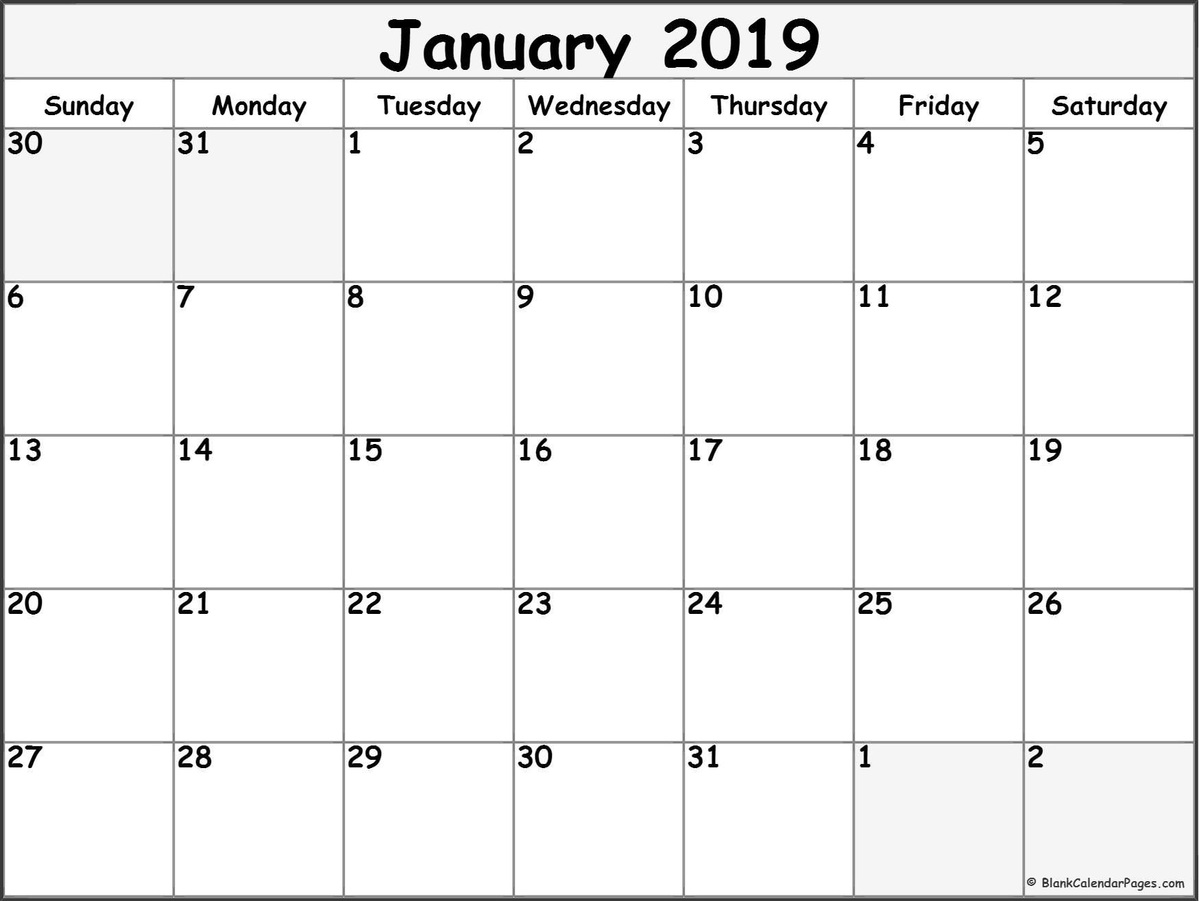 January 2019 Free Printable Blank Calendar Collection