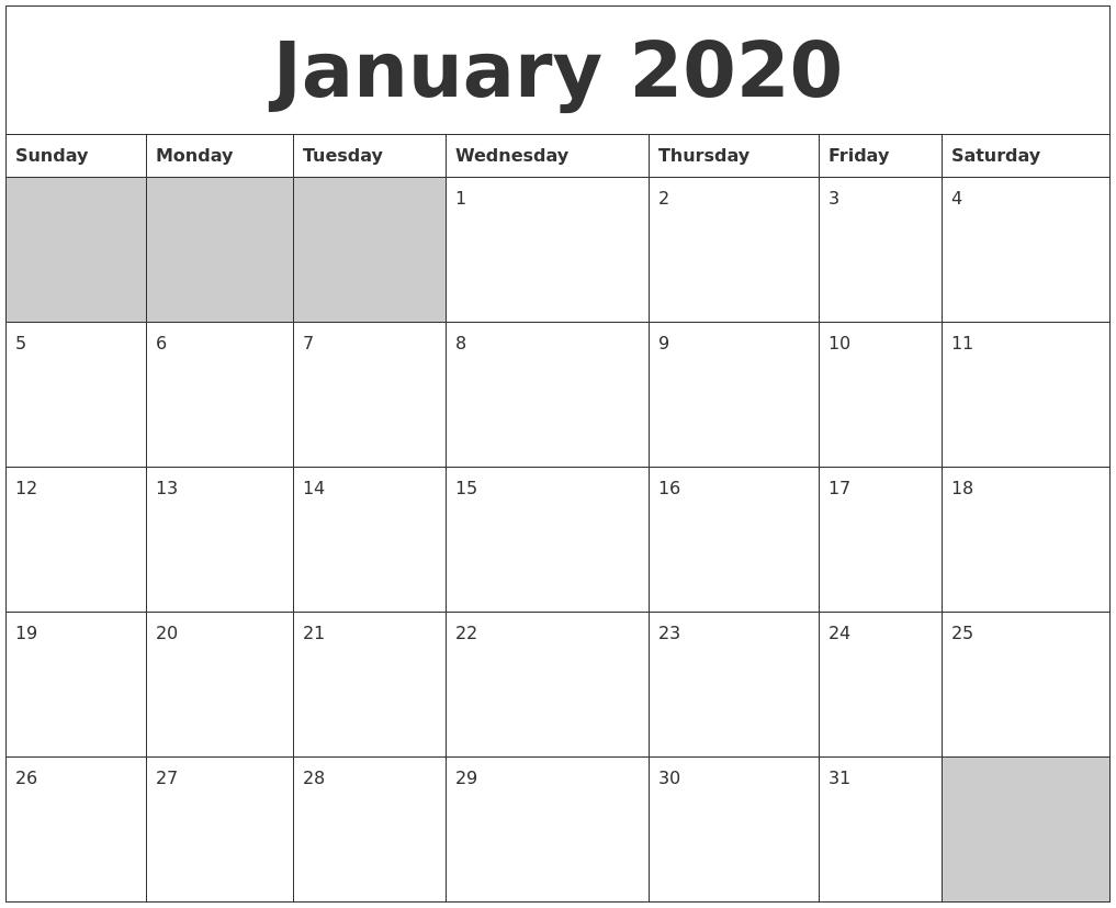January 2020 Blank Printable Calendar