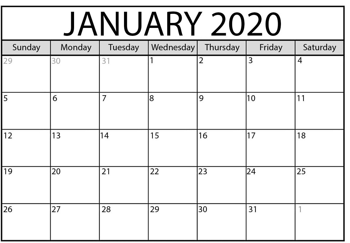 January 2020 Calendar | 2020 Yearly Calendar Template Download!!