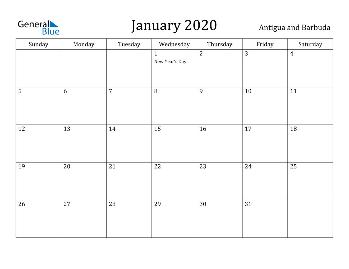 January 2020 Calendar - Antigua And Barbuda