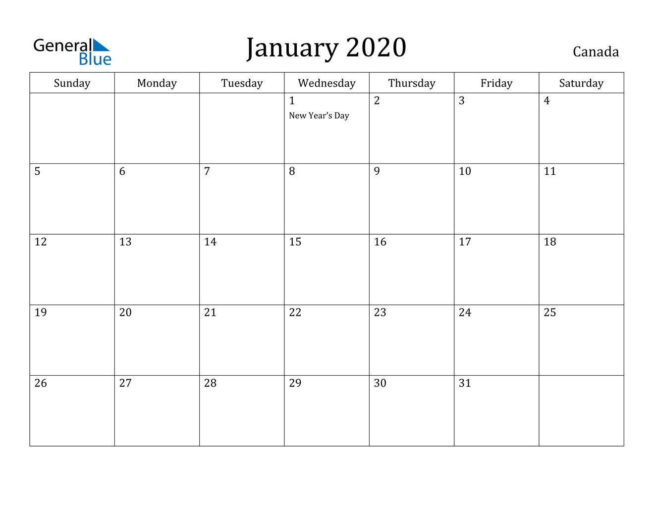 January 2020 Calendar - Canada