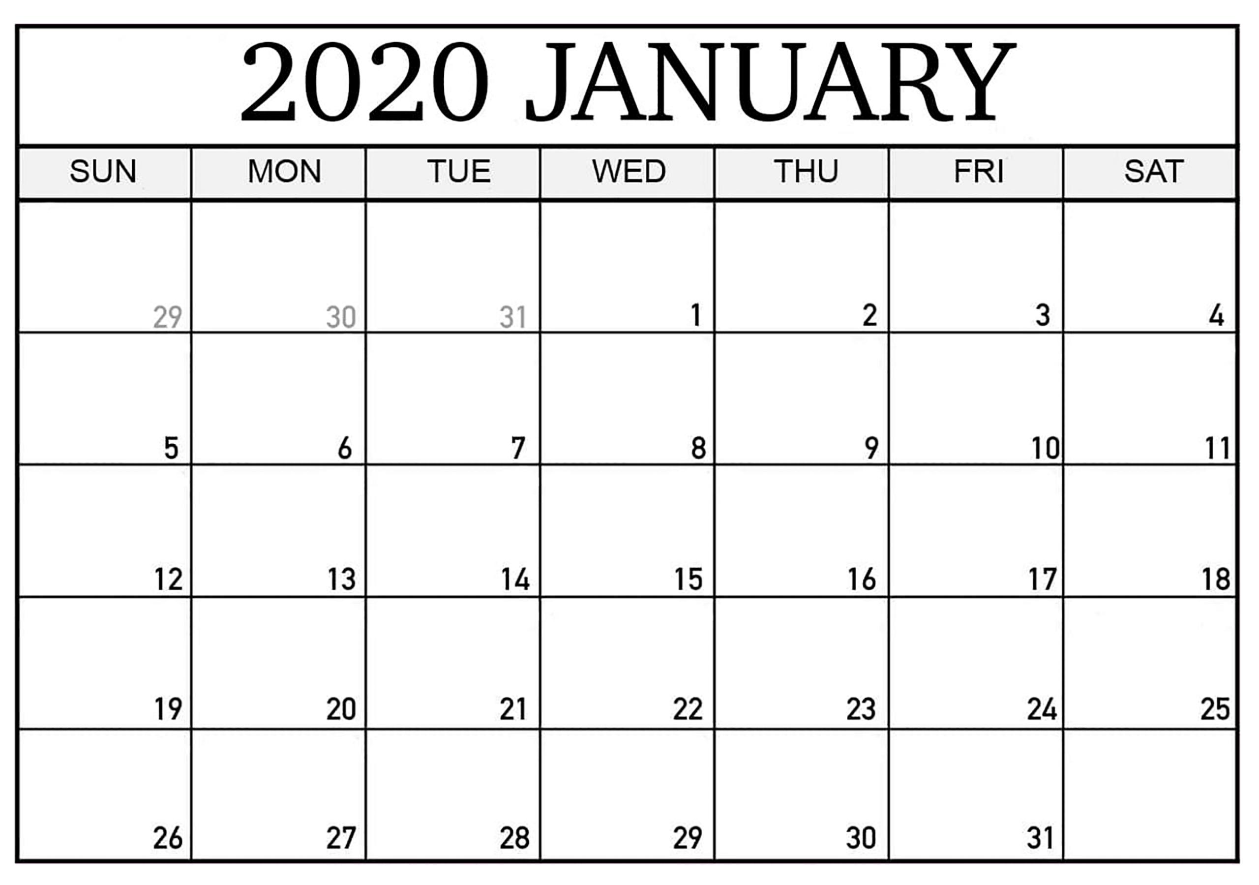 January 2020 Calendar Canada National Holidays - 2019