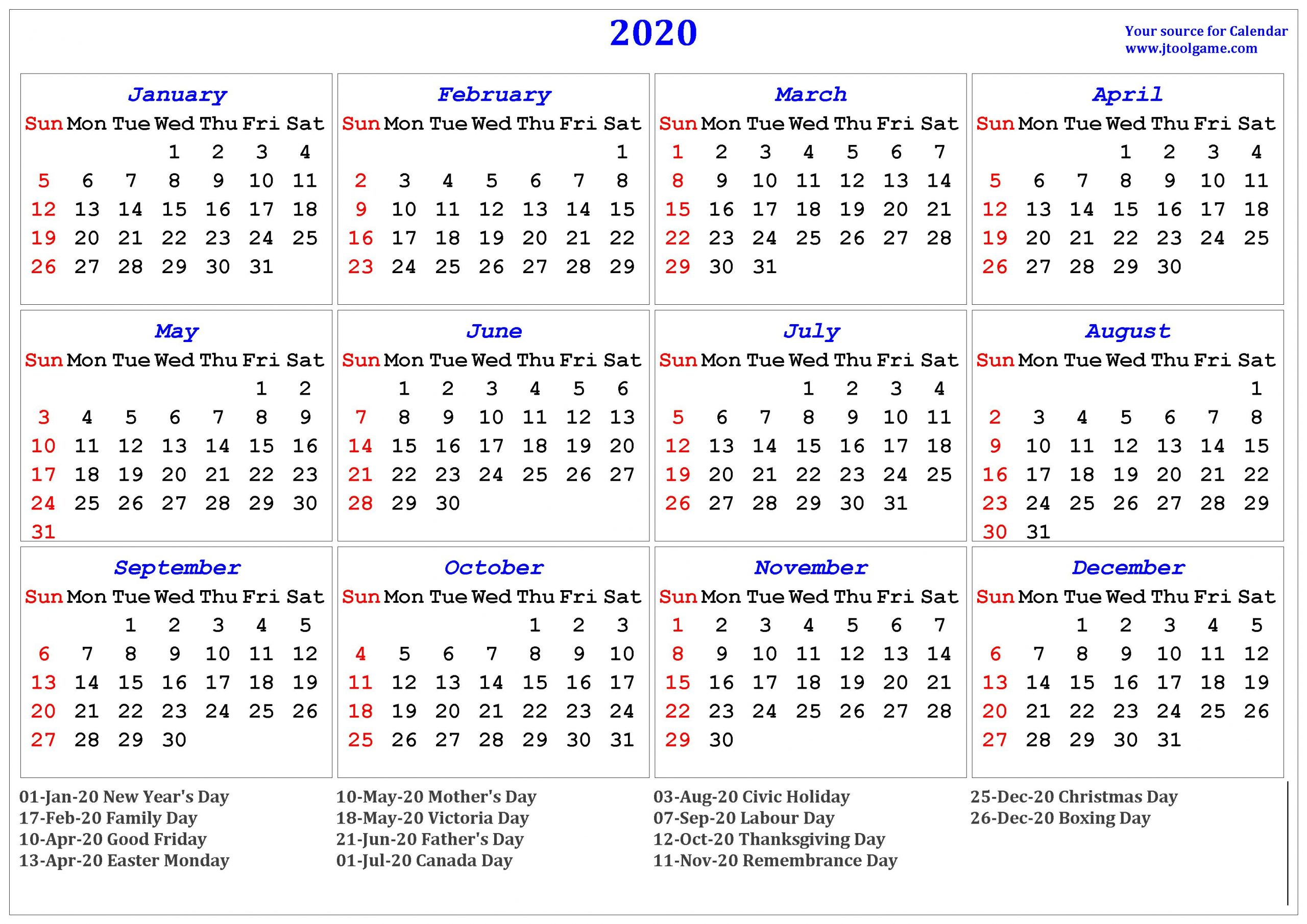 January 2020 Calendar Canada - Togo.wpart.co