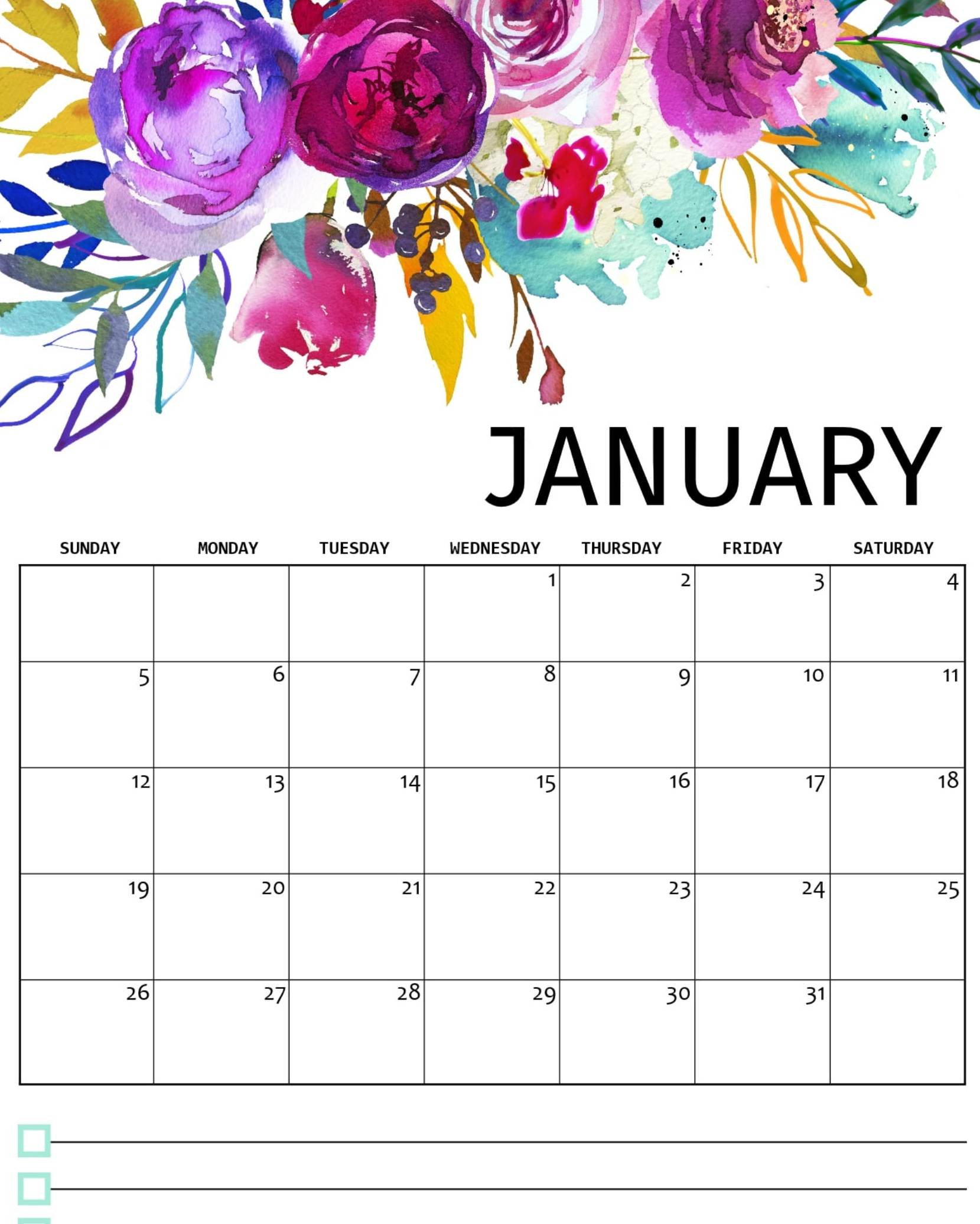 January 2020 Calendar Canada With Holidays & Notes - Set