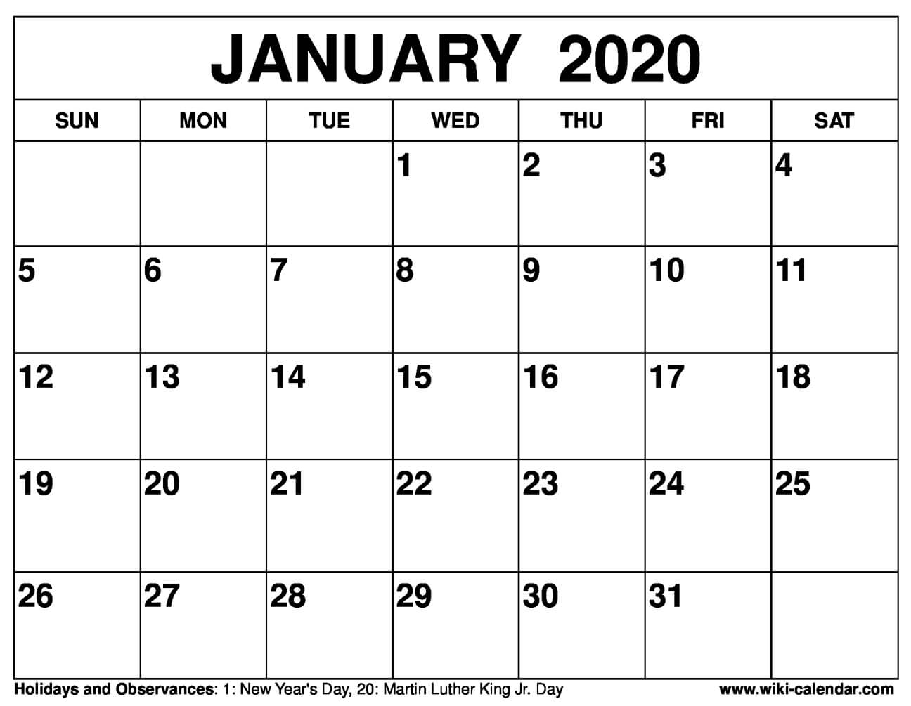 January 2020 Calendar Clipart