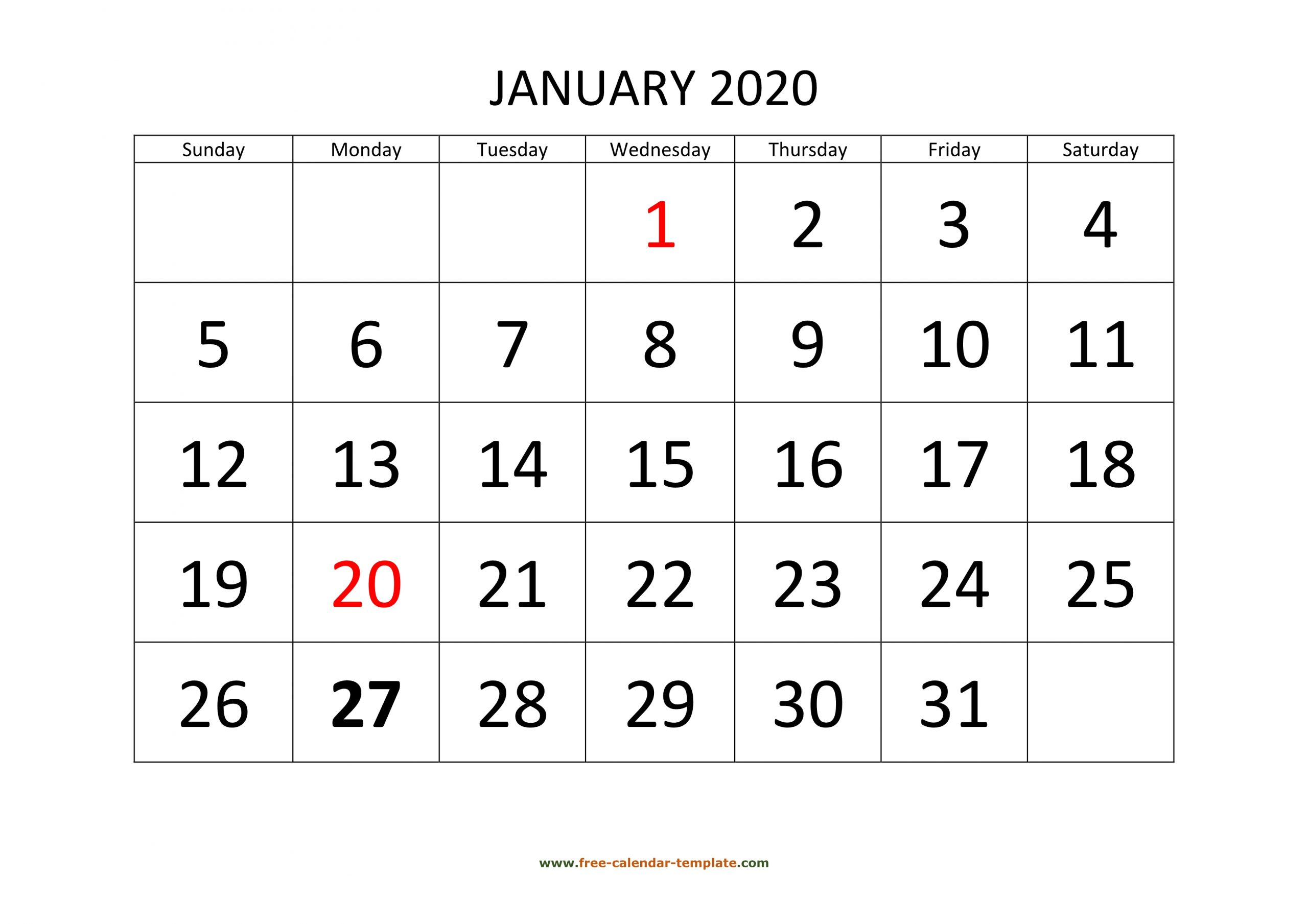 January 2020 Calendar Designed With Large Font (Horizontal