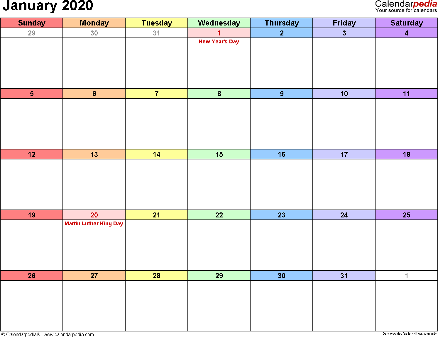 January 2020 Calendar Editable - Togo.wpart.co