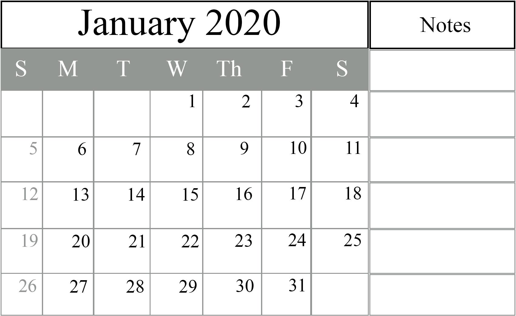 January 2020 Calendar Excel – Free Monthly Calendar