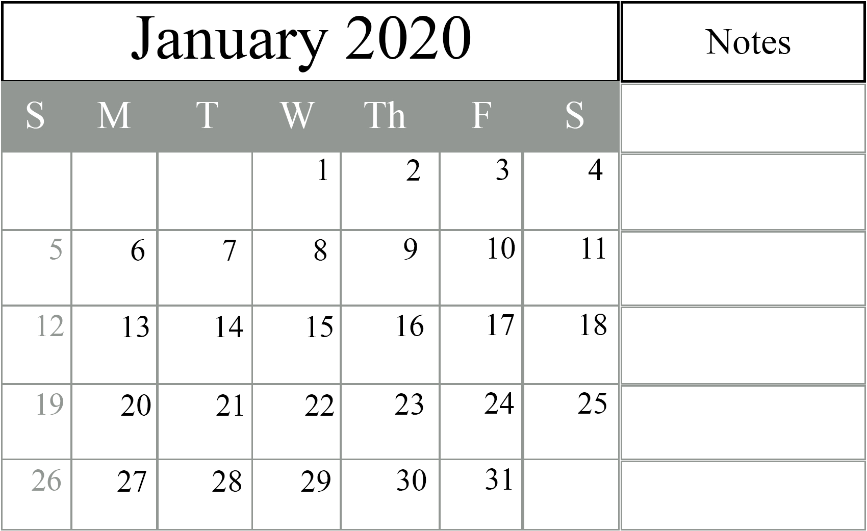 January 2020 Calendar Excel – Free Monthly Calendar