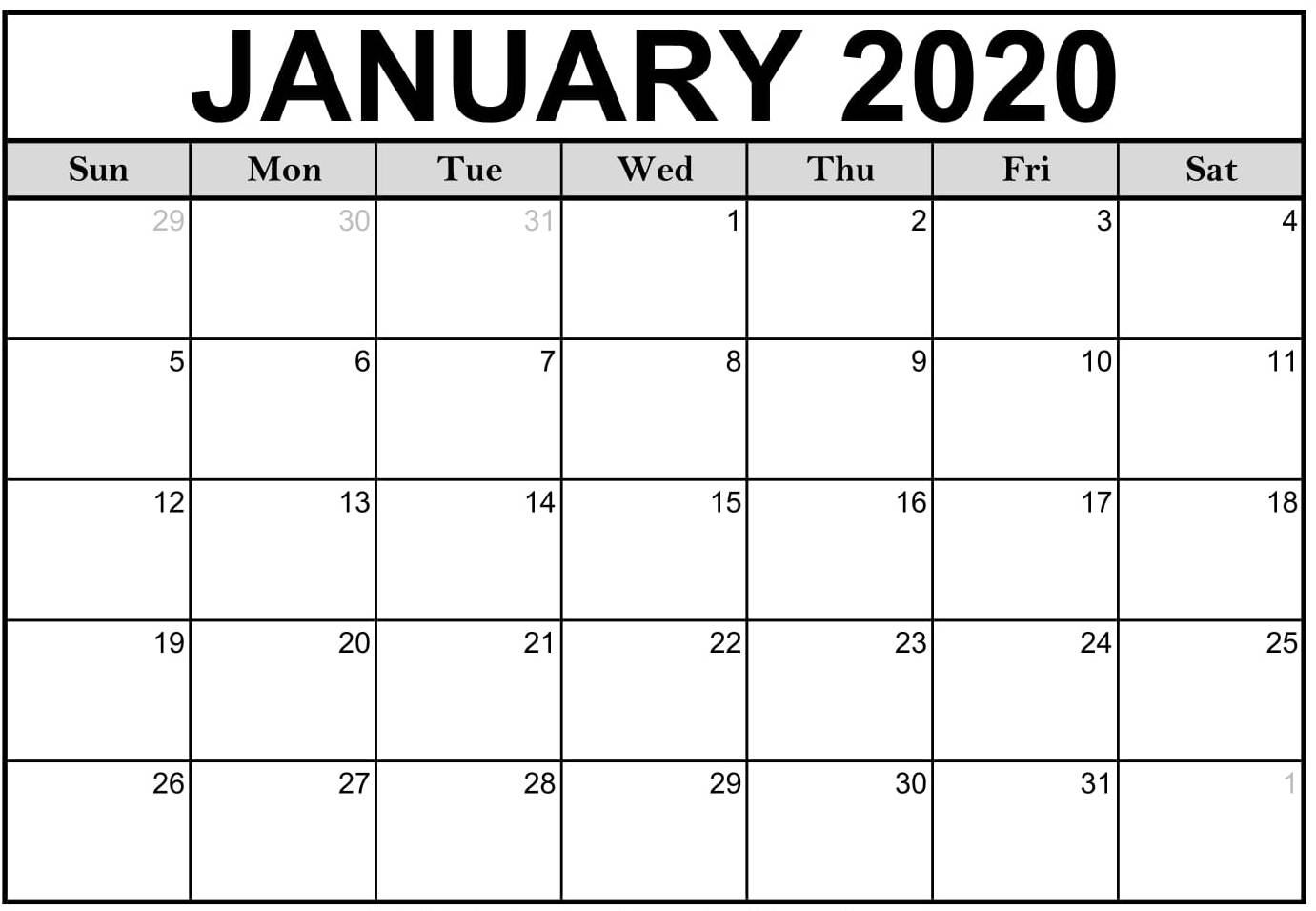 January 2020 Calendar Excel Template With Holidays - Set