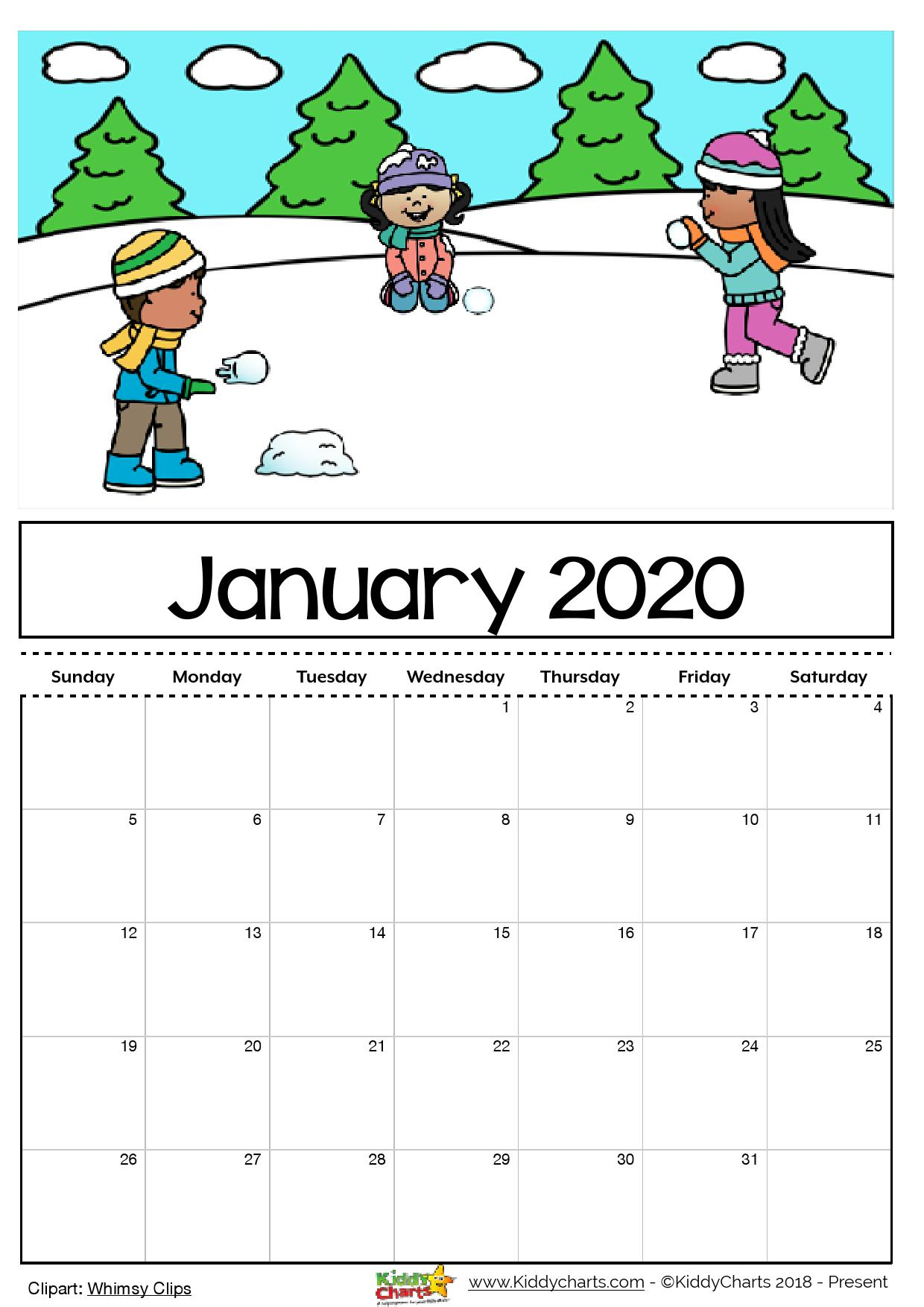 January 2020 Calendar For Kids - Togo.wpart.co