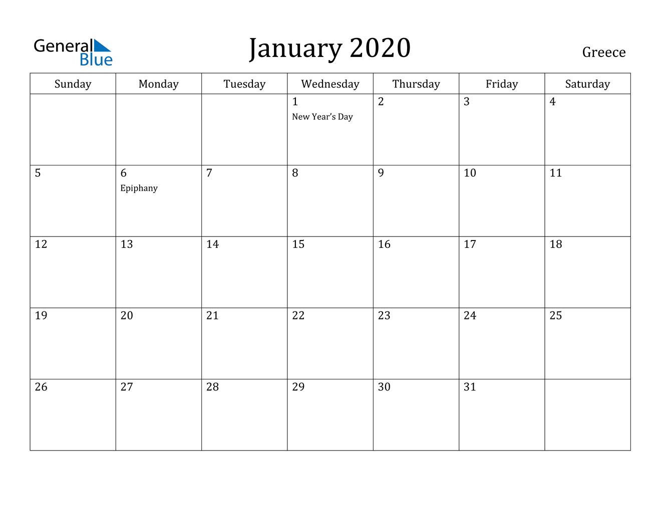 January 2020 Calendar - Greece