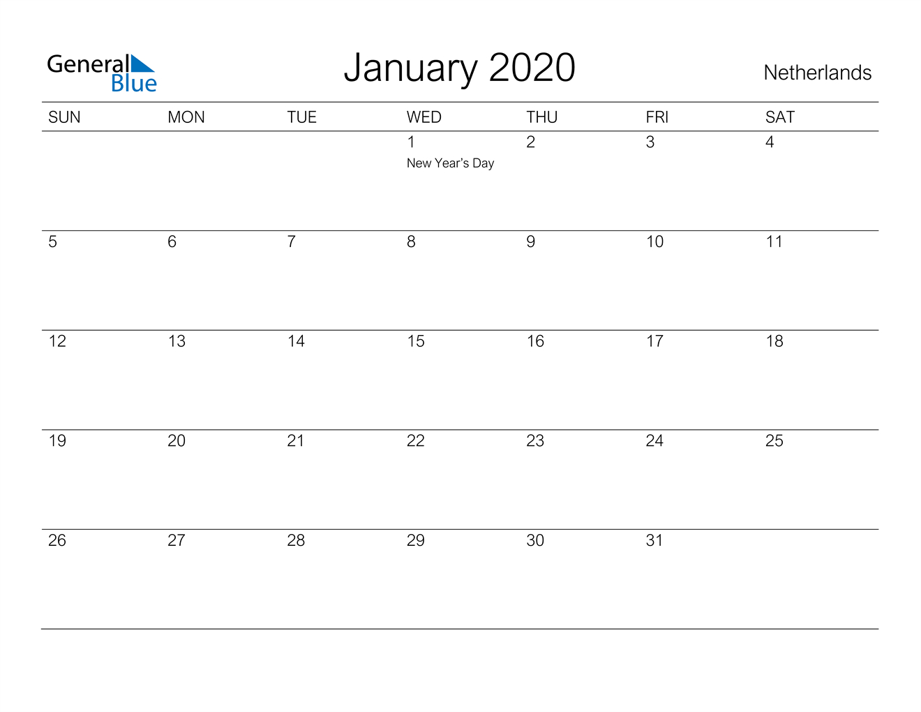January 2020 Calendar - Netherlands