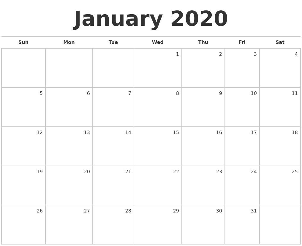 January 2020 Calendar Nz   Calendar Template Printable