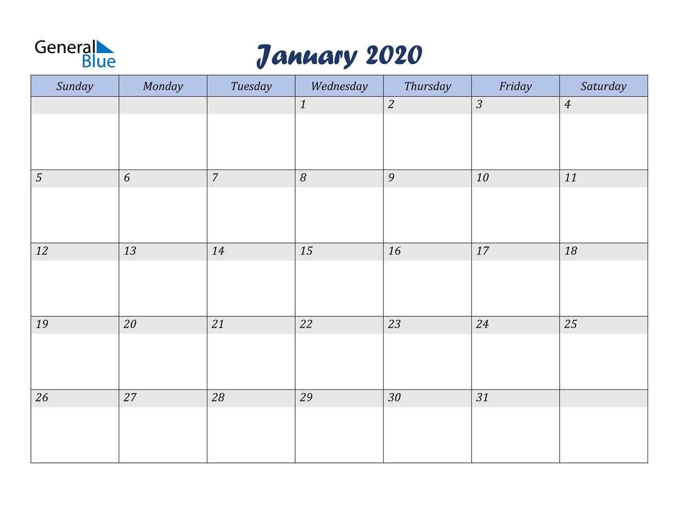January 2020 Calendar - Pdf Word Excel