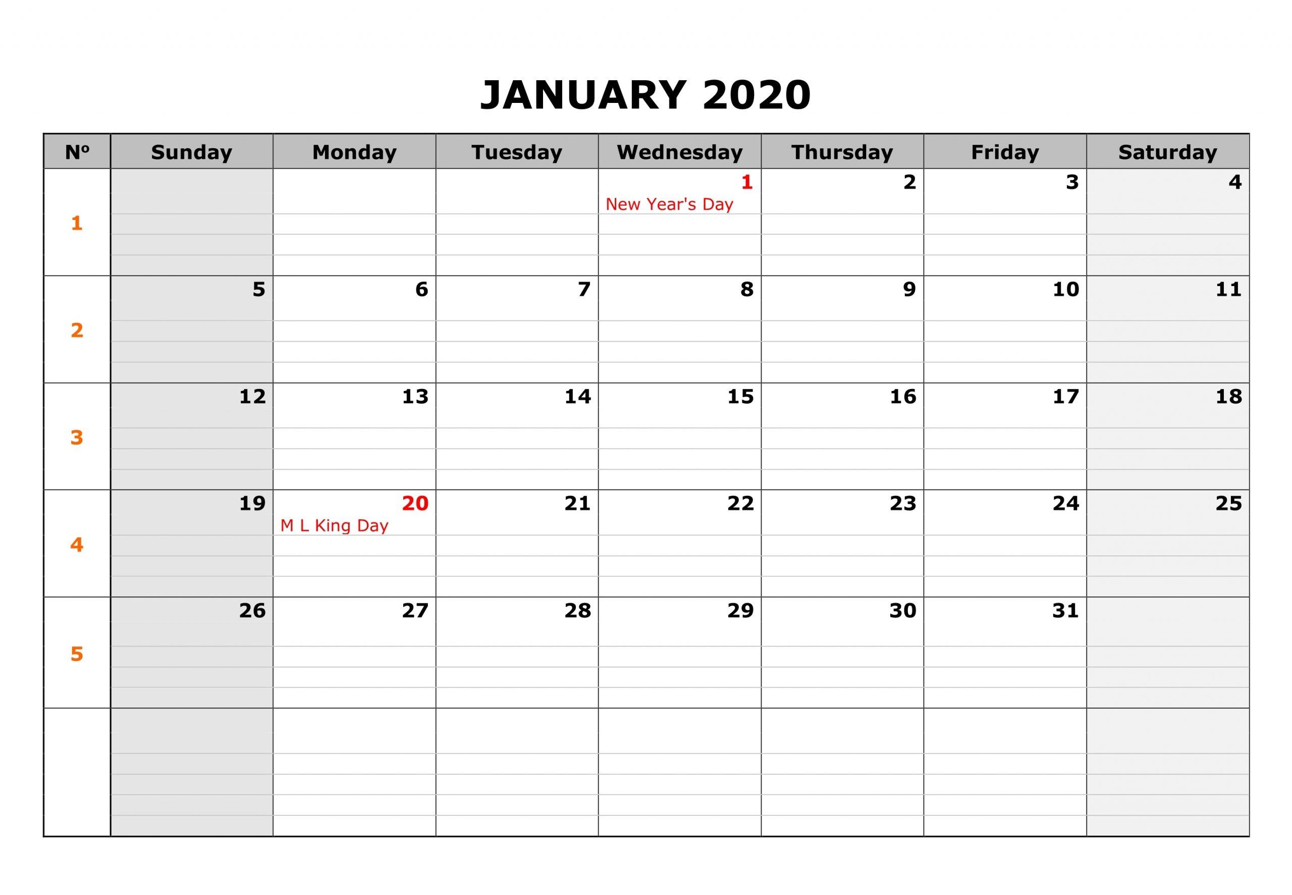 January 2020 Calendar Pdf, Word, Excel Printable Templates