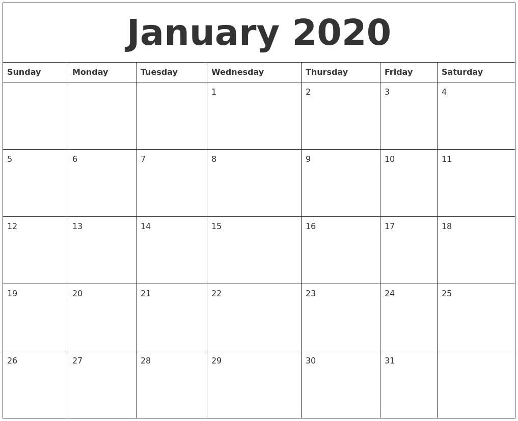January 2020 Calendar Print Out - Togo.wpart.co