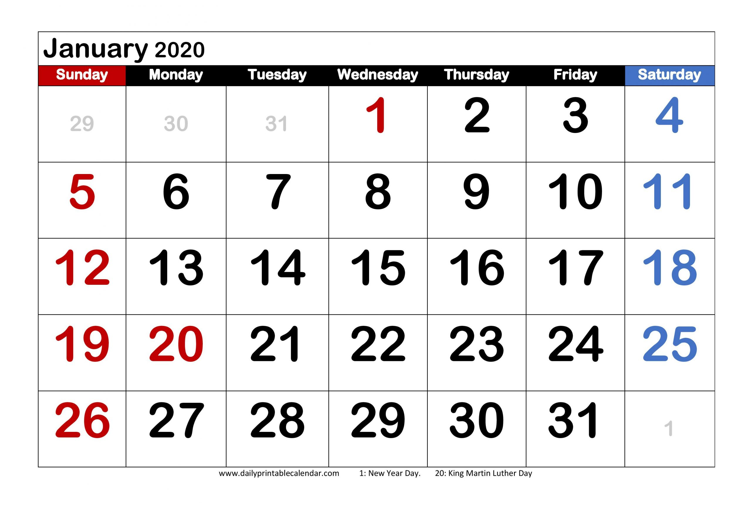 January 2020 Calendar Printable - Blank Templates - 2020