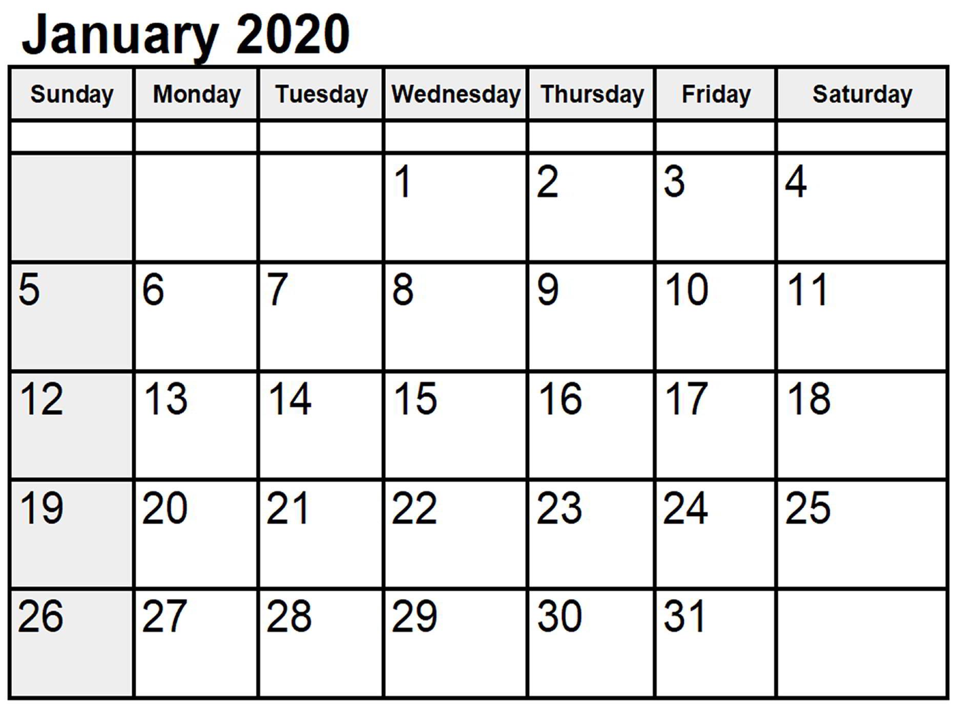 January 2020 Calendar Printable Cute | 12 Month Printable