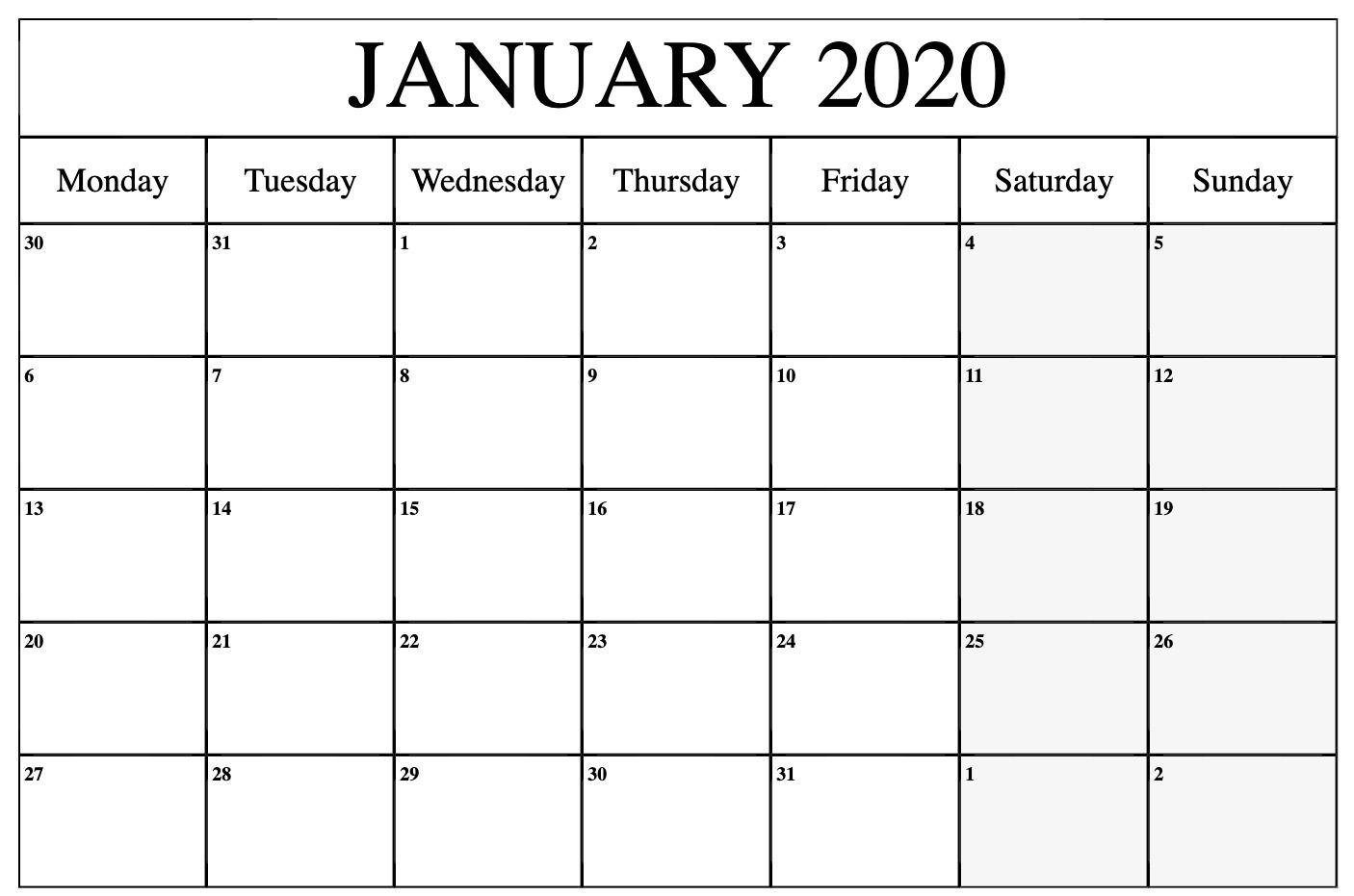 January 2020 Calendar Printable Monday | Printable Calendar