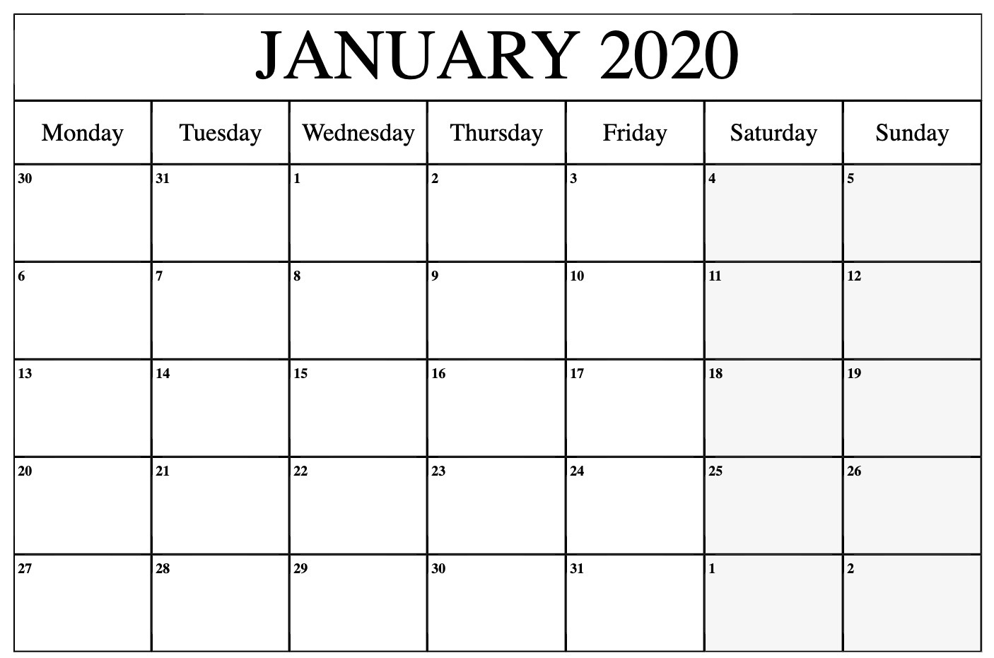 January 2020 Calendar Printable Template In Pdf Word Excel