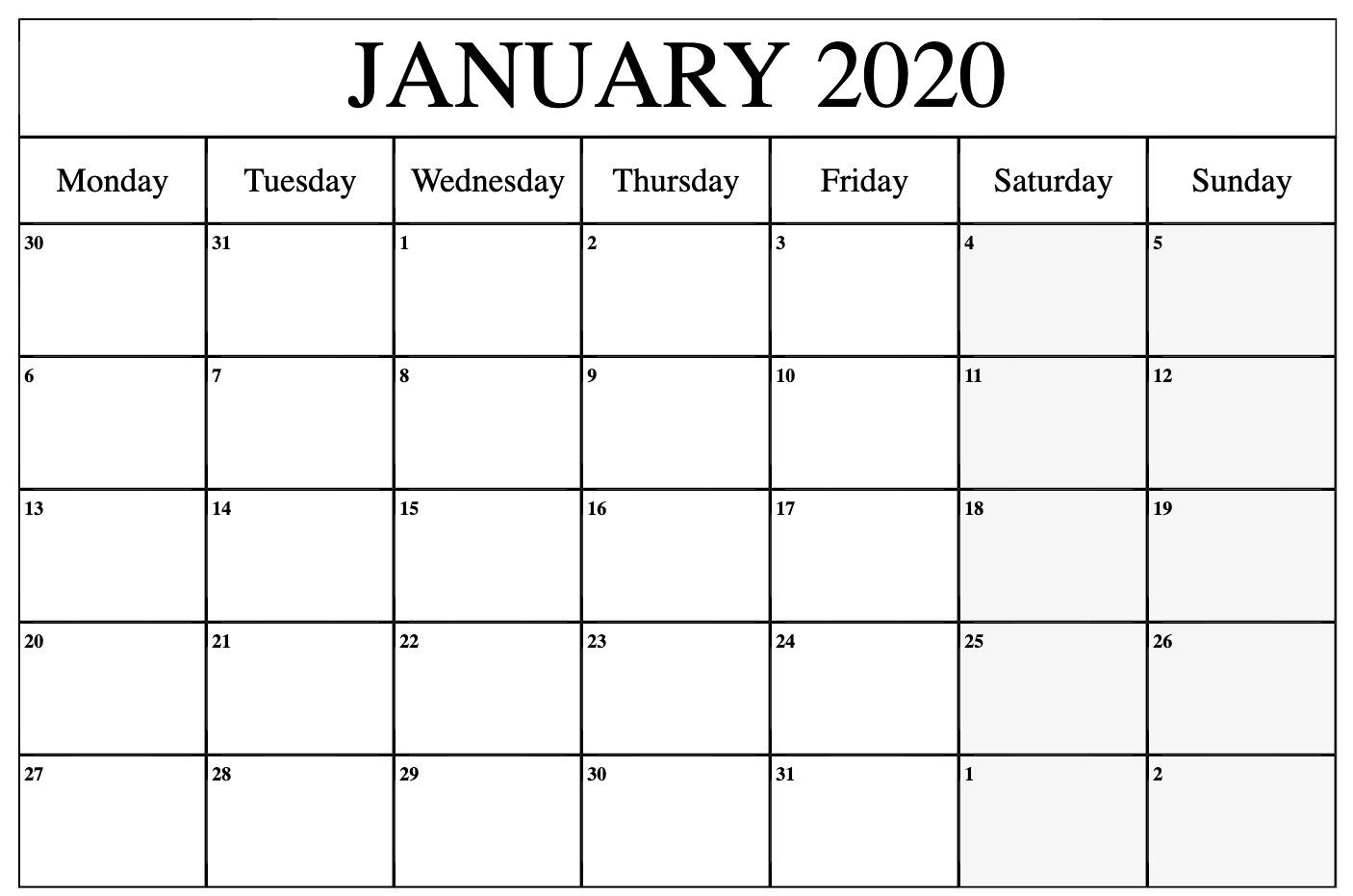 January 2020 Calendar Printable Template In Pdf Word Excel