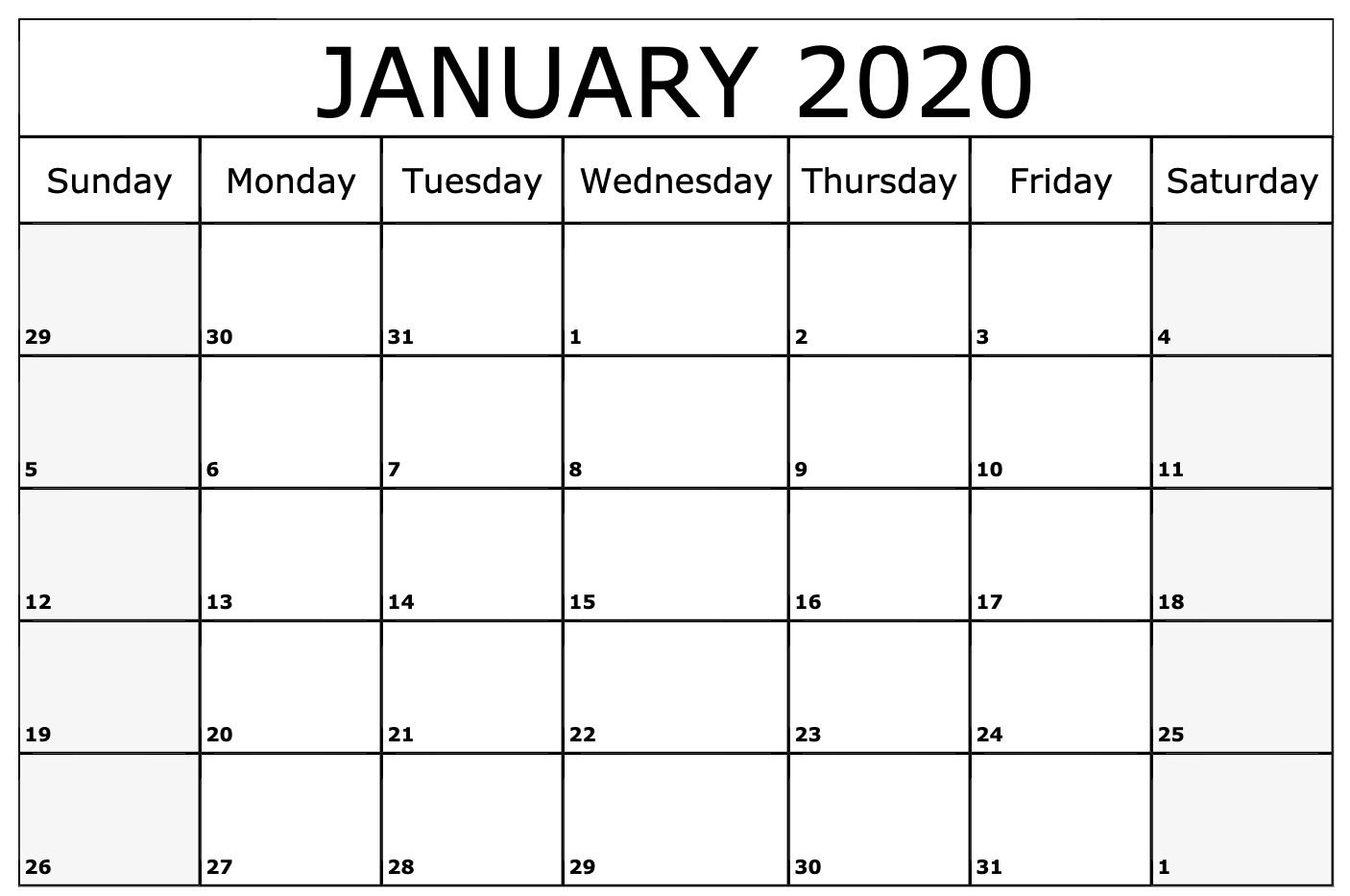 January 2020 Calendar Printable Template | Printable