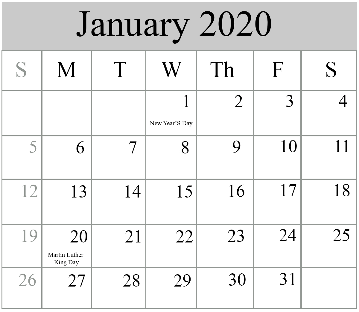 January 2020 Calendar With American Holidays And Events