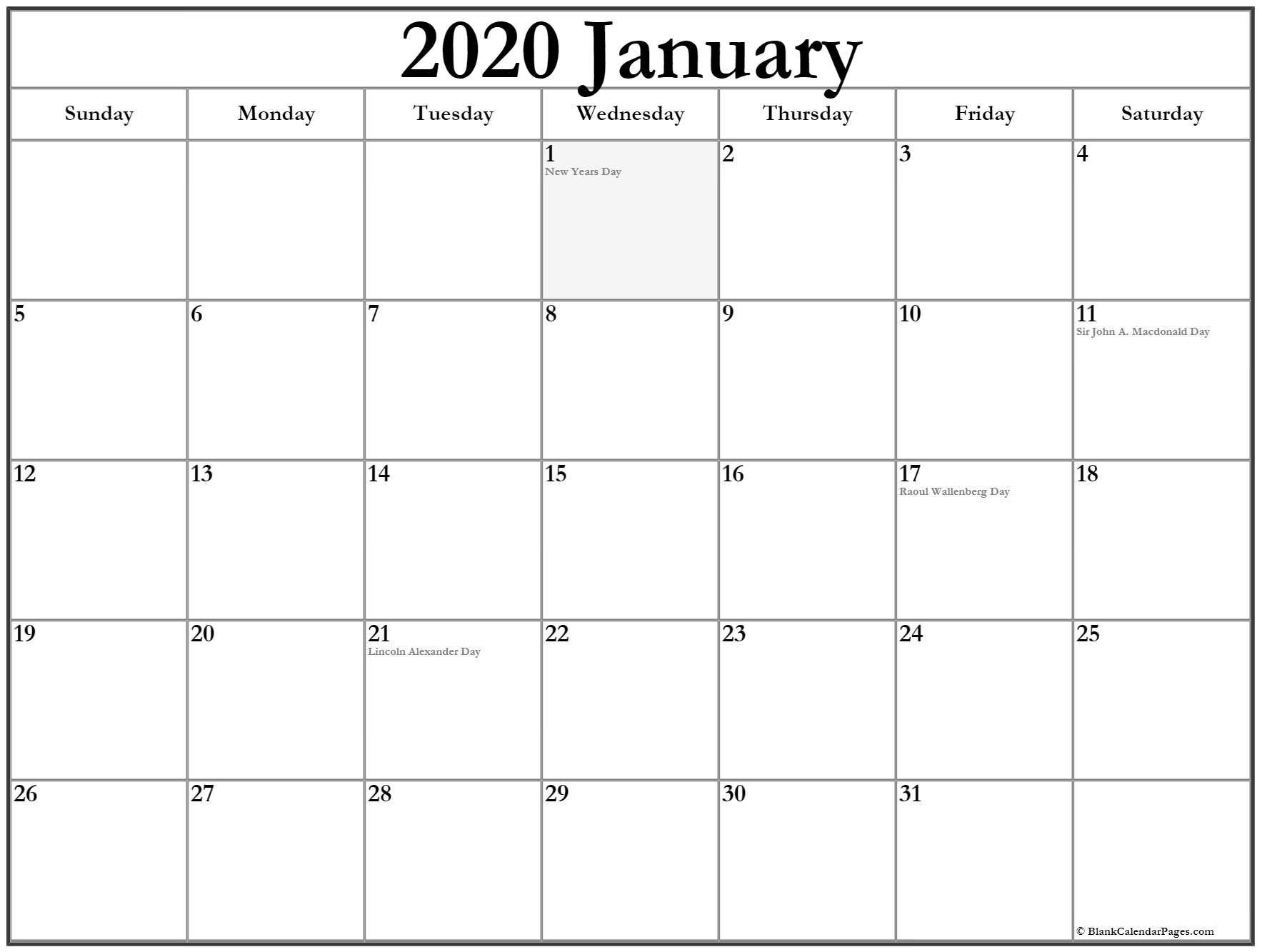 January 2020 Calendar With Holidays | Holiday Calendar