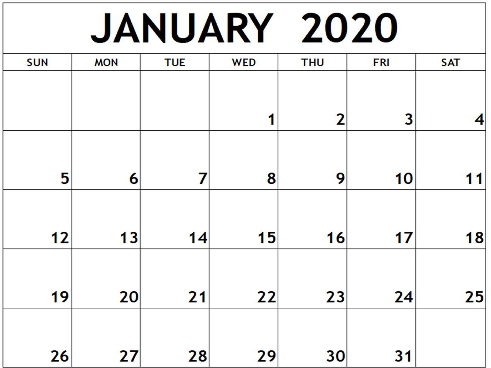 January 2020 Calendar Word Doc | Free Calendar Template