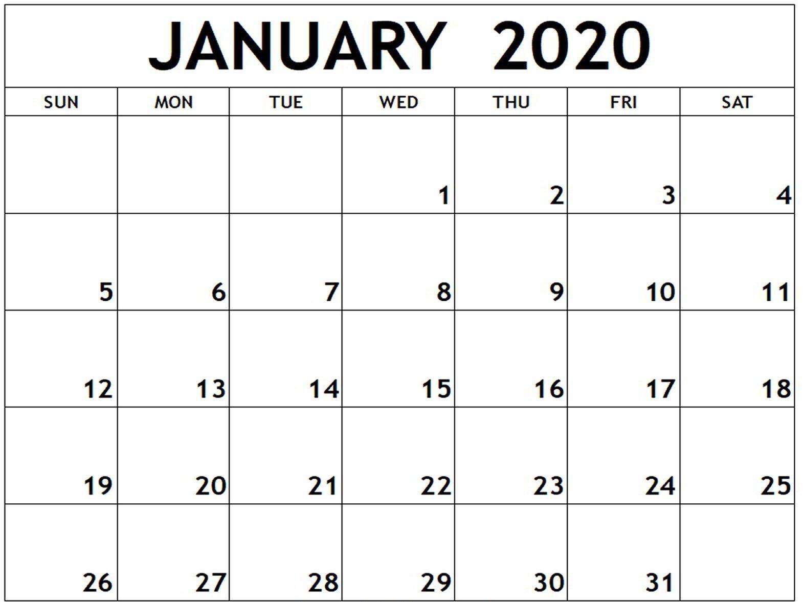 January 2020 Calendar Word Doc | Free Calendar Template