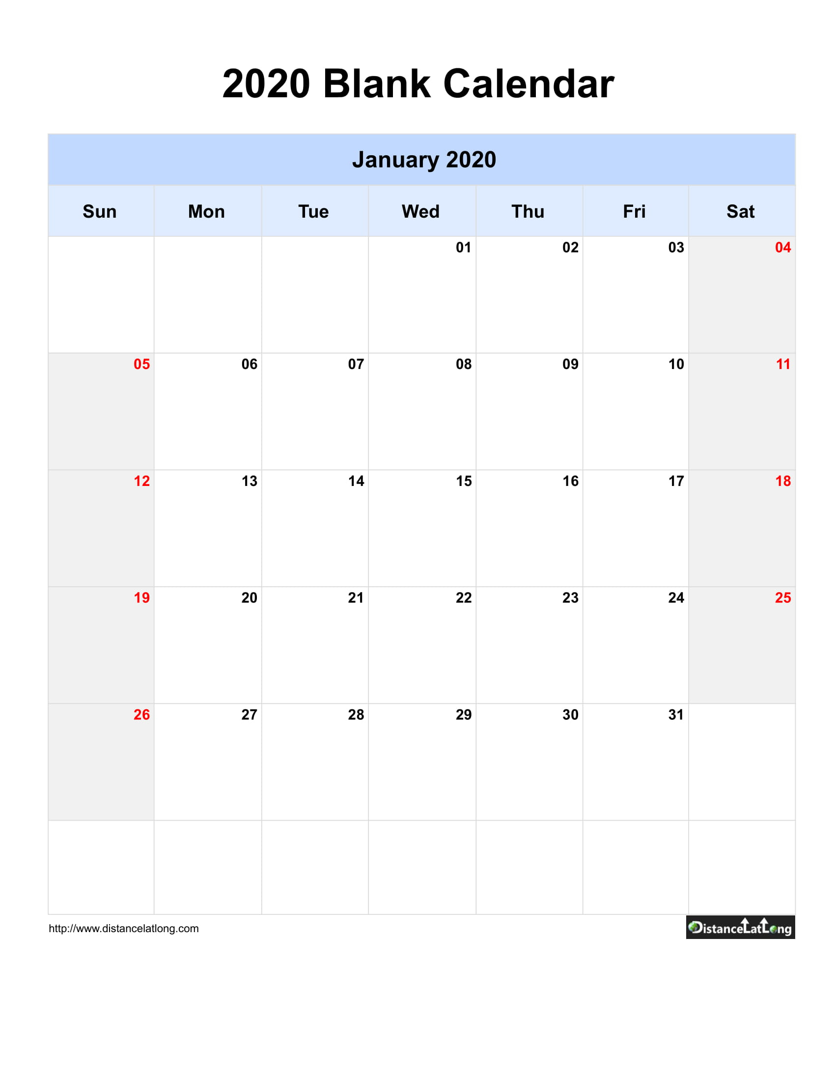 January 2020 Calendars For Pdf, Words And Jpg Formats