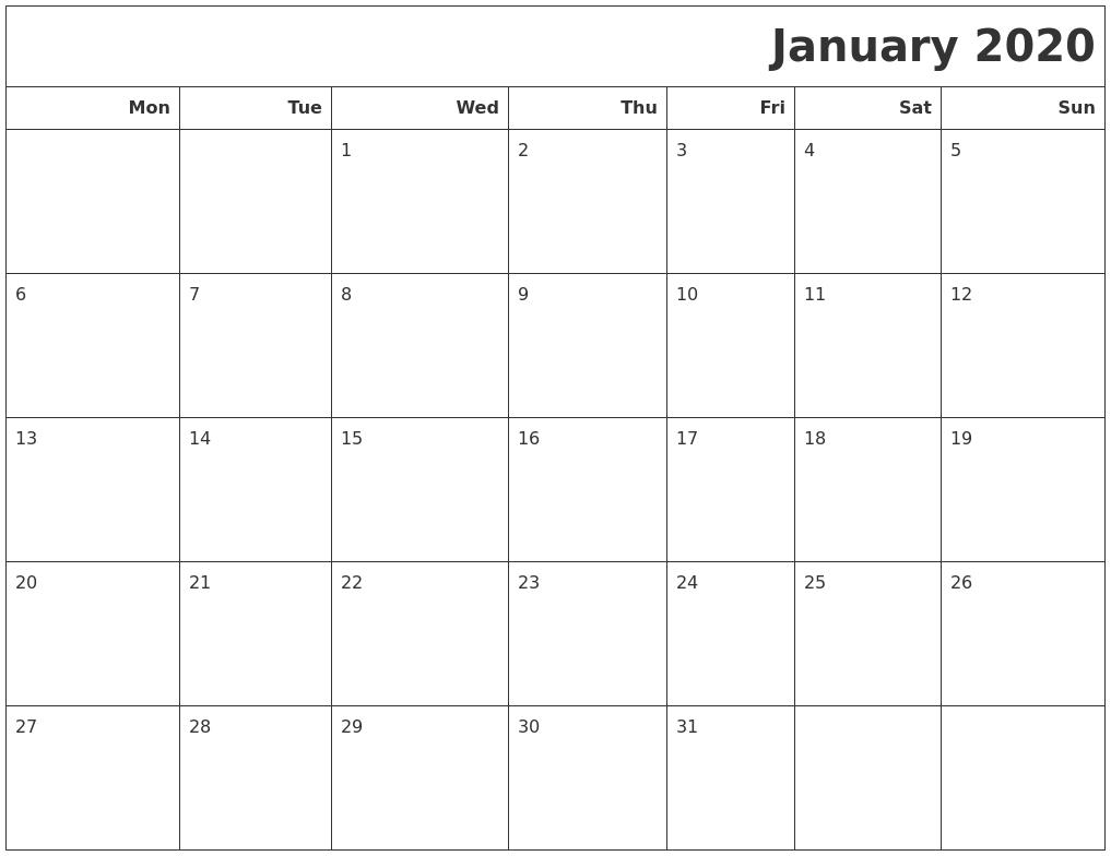 January 2020 Calendars To Print