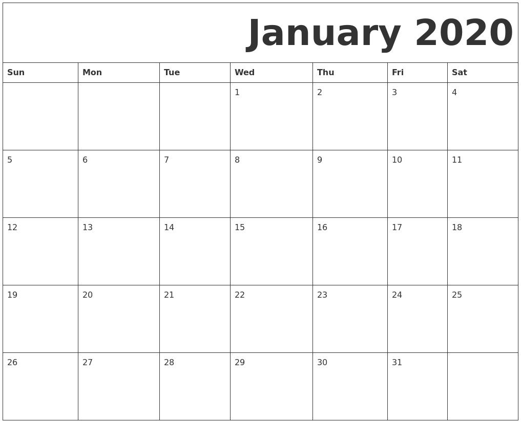 January 2020 Free Printable Calendar