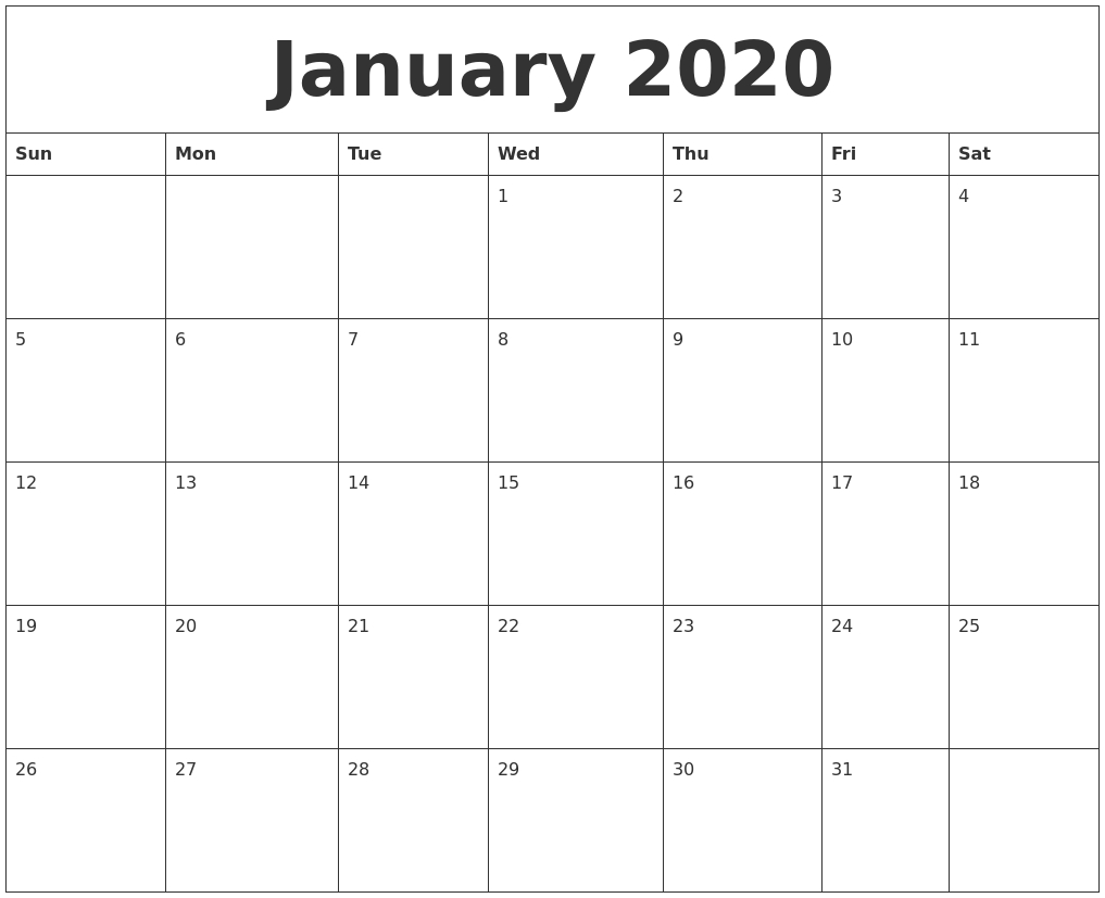 January 2020 Free Printable Weekly Calendar